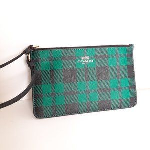 NWOT COACH Green Black Plaid Wristlet Wallet Bag